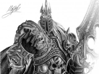 Un superbe crayonné d'Arthas en Roi-Liche par KorD12