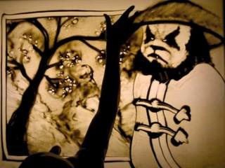 Un dessin sur sable en hommage à la Pandarie par Silvia Emme